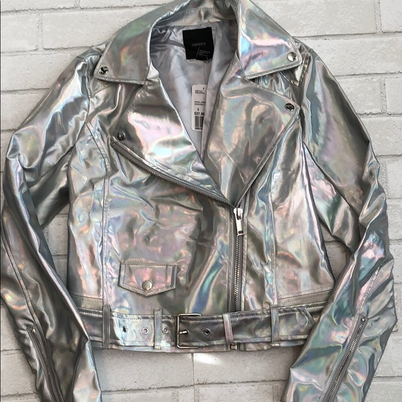 cc2f54d5f NWT Forever21 Holographic Motorcycle Jacket NWT